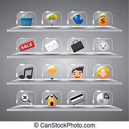 sitio web, iconos del internet, vidrio, botón