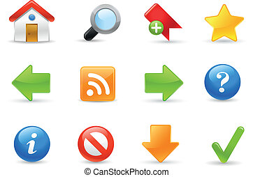 sitio web, iconos, /, gel, serie