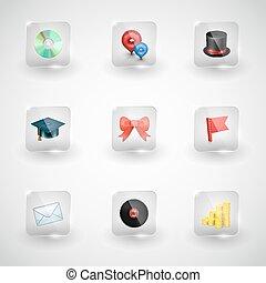 sitio web, internet, vector, iconos