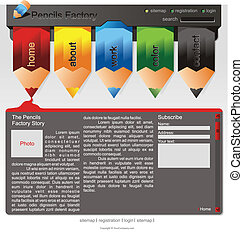 sitio web, lápices, coloreado, plantilla