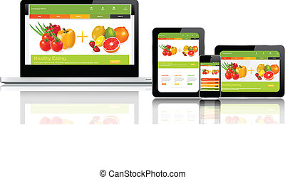 sitio web, múltiplo, plantilla, dispositivos