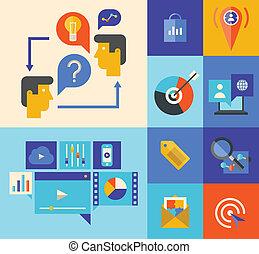 sitio web, mercadotecnia, poniendo común, iconos