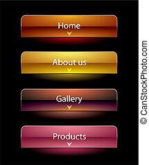 sitio web, negro, vista, estilo, botones, conjunto,...