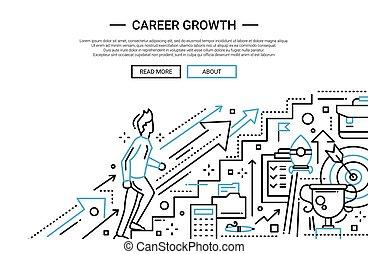 sitio web, plano, carrera, crecimiento, diseño, línea, bandera