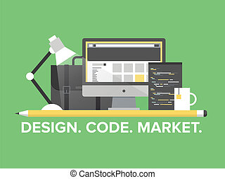 sitio web, plano, dirección, programación, ilustración
