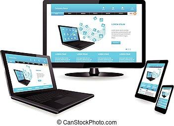 sitio web, plantilla, en, múltiplo, dispositivos