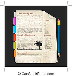 sitio web, plantilla, -, hoja de papel