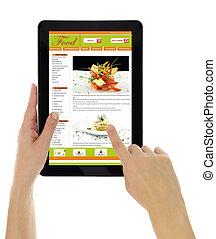 sitio web, plantilla, tableta, receta, aislado, manos de ...