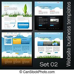 sitio web, plantillas, conjunto, 02, empresa / negocio