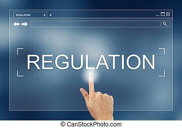 sitio web, prensa, botón, regulación, mano