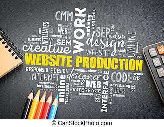 sitio web, proceso, producción, palabra, nube