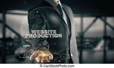 sitio web, producción, con, holograma, hombre de negocios, concepto