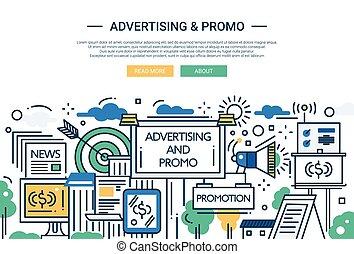 sitio web, promo, -, diseño, publicidad, línea, bandera