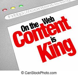 sitio web, rey, artículos, pantalla, contenido, tráfico, fe,...