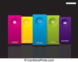 sitio web, símbolos, plantilla, simplistic, etiquetas