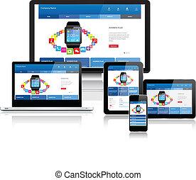 sitio web, sensible, múltiplo, plantilla, dispositivos