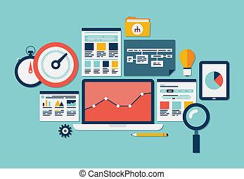 sitio web, seo, y, analytics, iconos