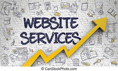 sitio web, servicios, dibujado, en, ladrillo, wall.