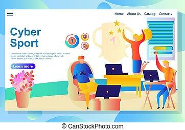 sitio web, sobre, actividades, gente, algunos, cyber, ganando, juegos, virtual, competir, página