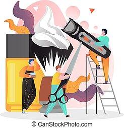 sitio web, tela, concepto, bandera, vector, barbería, página