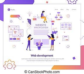 sitio web, tela, especificación, bandera