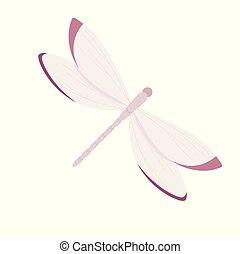 sitio web, tela, gráfico, signo., libélula, simple, concept...