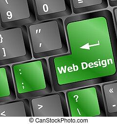 sitio web, tela, palabra, render, teclado, botón, computadora, diseño, entrar, concept:, 3d