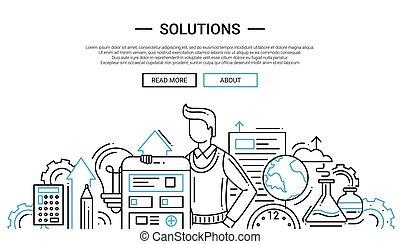 sitio web, -, temlate, diseño, soluciones, línea, bandera