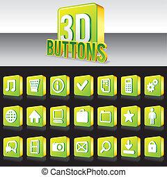 sitio web, vector, botones, apps., verde, brillante, o, 3d