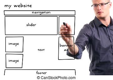 sitio web, whiteboard, wireframe, hombre, dibujo