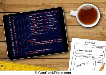 sitio web, wireframe, bosquejo, y, programación, código, en, tableta de digital