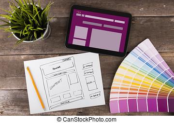 sitio web, wireframe, bosquejo, y, tableta de digital, en, tabla de madera