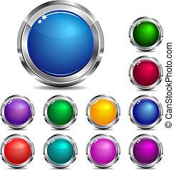 sitio web, y, icono de internet, botones