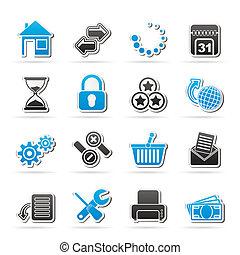 sitio web, y, iconos del internet