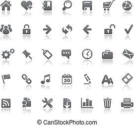 sitio web, y, iconos del internet, //, fundamentos