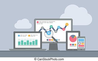 sitio web, y, móvil, analytics, concepto