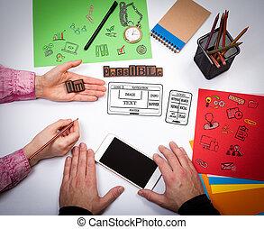 sitio web, y, móvil, app, desarrollo, concept., el, reunión, en, el, blanco, oficina, tabla