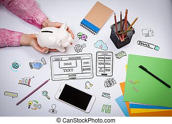 sitio web, y, móvil, app, desarrollo, concept., mujer de negocios, con, un, hucha