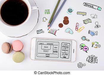 sitio web, y, móvil, app, desarrollo, concept., teléfono móvil, y, taza para café, en, un, blanco, escritorio de oficina