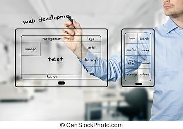 sitio web, y, móvil, app, desarrollo