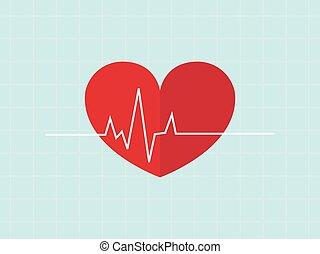 sitios web, corazón, vecter, golpe, pulso, médico, apps, ...