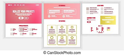 sito web, affari tela, menu., graphic., credit., futuristico, illustrazione, pagina, sensibile, strategy., disegno, atterraggio, vector., interface., interfaccia, template., scheda