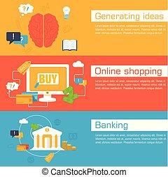 sito web, appartamento, stile, set, affari, mobile, vendemmia, apparecchio, vita, sfondi, bandiere, vettore, sagoma, sociale, illustrazioni, concepts., orizzontale, design.