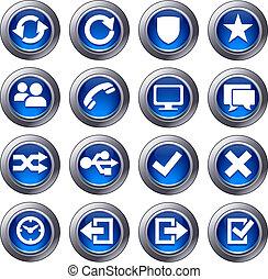 sito web, blu, set, icone, -, 2
