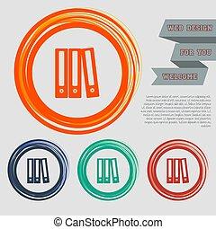 sito web, blu, spazio, text., bottoni, vettore, disegno, arancia, verde, cartella, rosso, tuo, icona