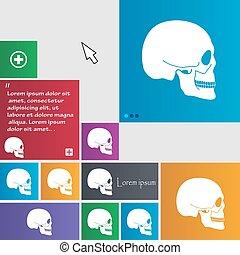 sito web, bottoni, buttons., cranio, segno., moderno, cursore, vettore, pointer., interfaccia, icona