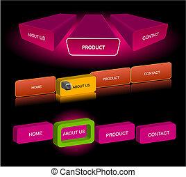 sito web, bottoni, vettore, editable