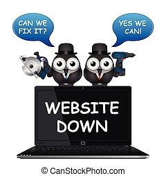 sito web, comico, giù