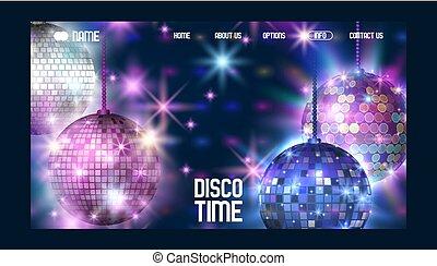 sito web, comincia, vita, palla, illustration., ballando., randello intrattenimento, luce, night., show., discoteca, evento, vettore, disegno, element., tempo, bandiera parte, ball., lucente