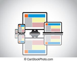 sito web, computer, sagoma, desktop